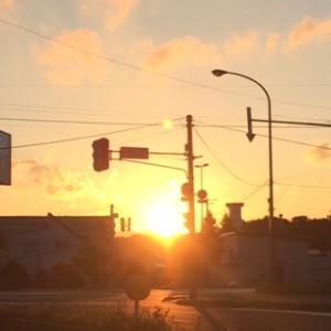 2015/09/27/千歳市内にて2015年の9月27日の夕日